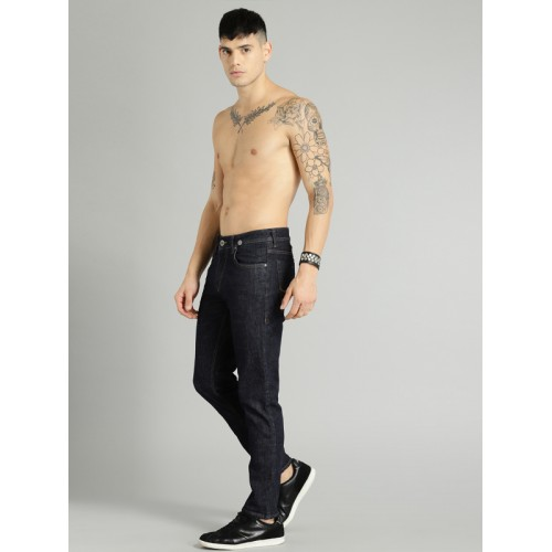 Roadster Men Blue Slim Fit Mid-Rise Clean Look Stretchable Cropped Jeans with Suspenders
