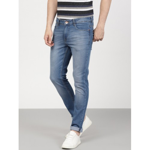 ether Men Blue Slim Fit Mid-Rise Clean Look Stretchable Jeans