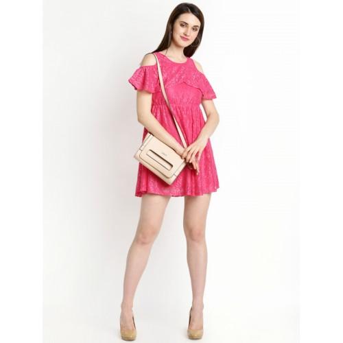 Honey by Pantaloons Pink Coloured Self Pattern Skater Dress