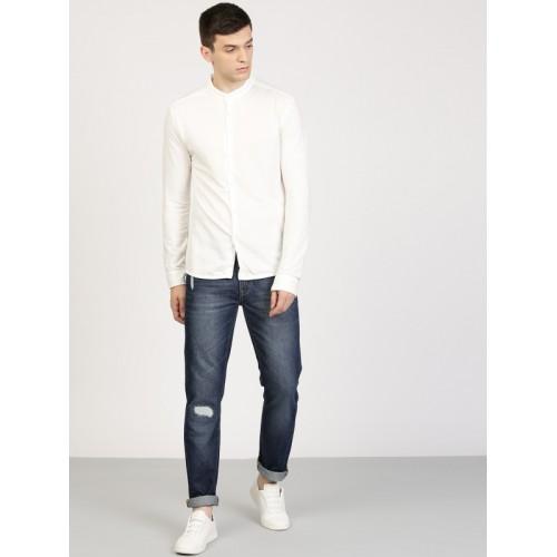 ether Men Blue Slim Fit Mid-Rise Low Distress Jeans