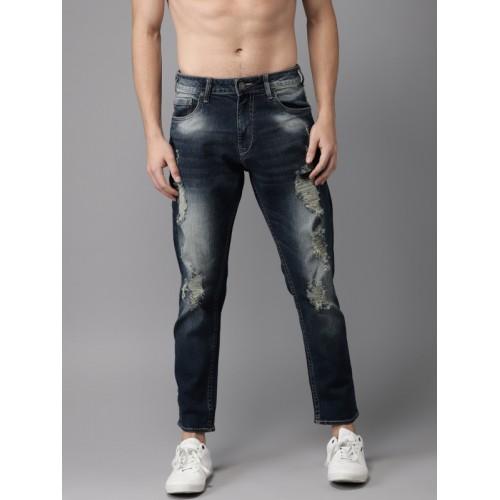 Moda Rapido Men Blue Slim Fit Mid-Rise Mildly Distressed Ankle-Length Jeans