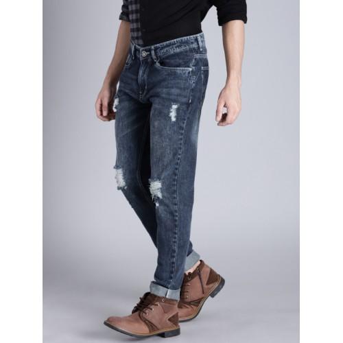 Kook N Keech Men Blue Regular Fit Mid-Rise Highly Distressed Jeans