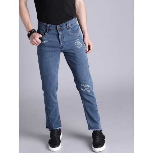 Kook N Keech Men Blue Skinny Fit Printed Mid-Rise Clean Look Stretchable Jeans