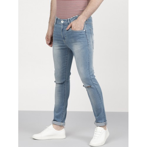 ether Men Blue Skinny Fit Mid-Rise Slash Knee Stretchable Jeans