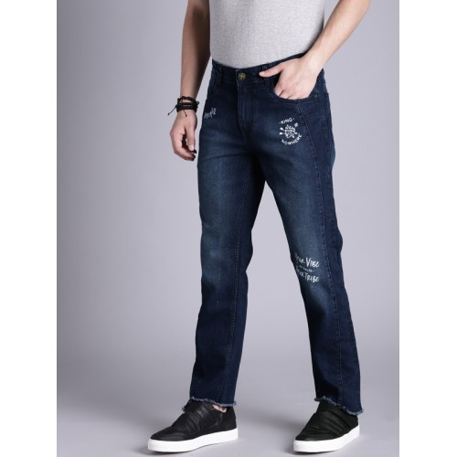 Kook N Keech Men Blue Printed Slim Tapered Fit Mid-Rise Clean Look Stretchable Jeans