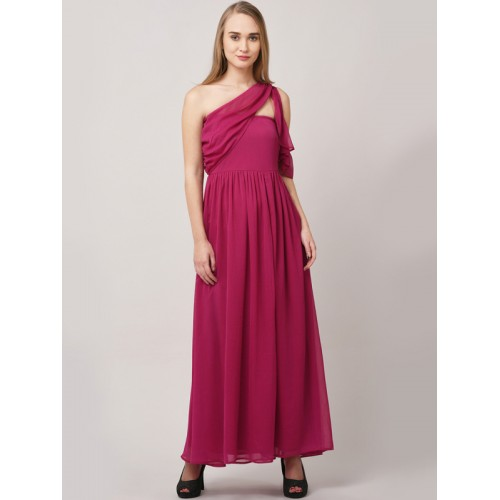 f37dd6d5d7 Buy STREET 9 Magenta Solid One Shoulder Maxi Dress online