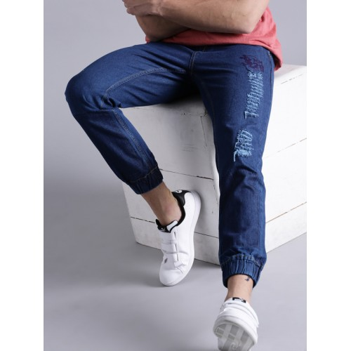 Kook N Keech Men Blue Jogger Mid-Rise Mildly Distressed Jeans