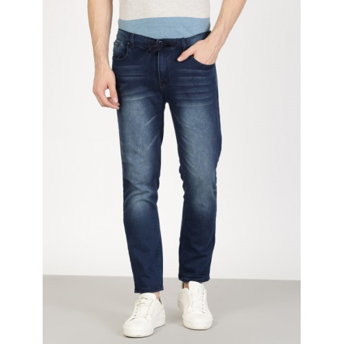 ether Men Blue Slim Fit Mid-Rise Clean Look Jeans with Drawstring
