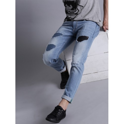 Kook N Keech Men Blue Tapered Fit Mid-Rise Mildly Distressed Stretchable Jeans