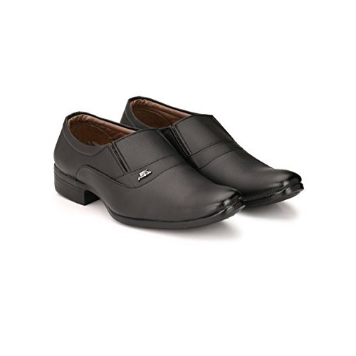 Fashion World Black Synthetic Leather Slip On Formal Shoes