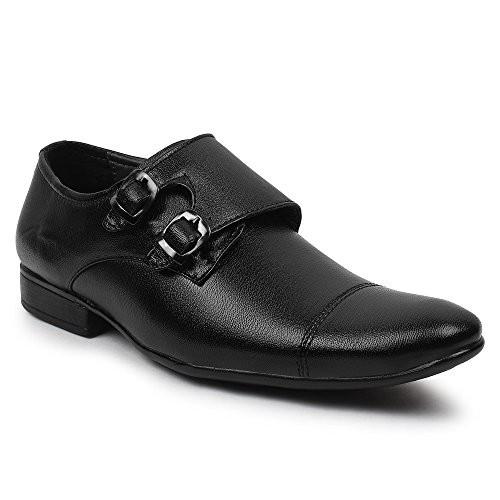 Buwch Men Formal Black Synthetic Leather Monk Shoe