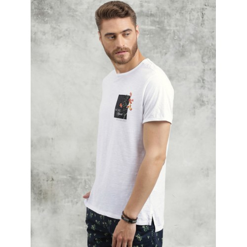 Breakbounce White Solid Round Neck T-Shirt
