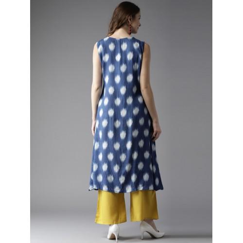 Moda Rapido Blue Printed A-Line Kurta