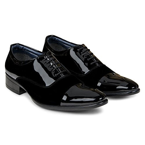 XE Looks Men's Black Comfortable Patent Leather/Velvet Lace-up Formal Shoes