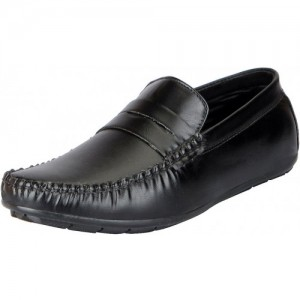 Fausto Men's Black Trendy Loafers and Mocassins