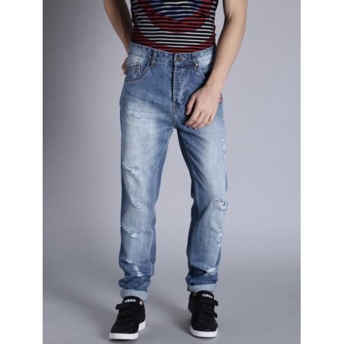 Kook N Keech Marvel Men Blue Slim Fit Mid-Rise Mildly Distressed Jeans