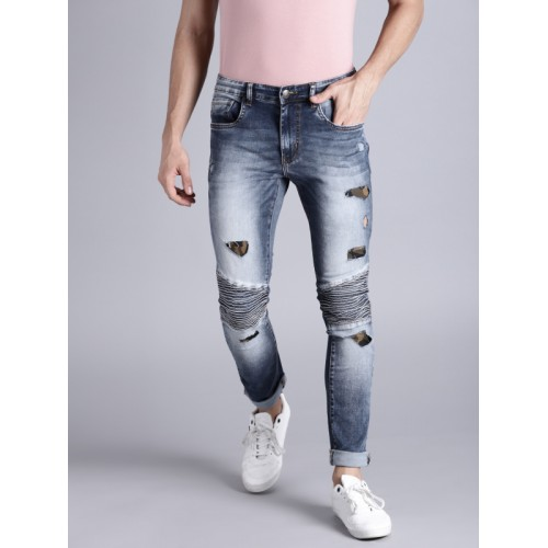 Kook N Keech Men Blue Skinny Fit Mid-Rise Mildly Distressed Stretchable Jeans