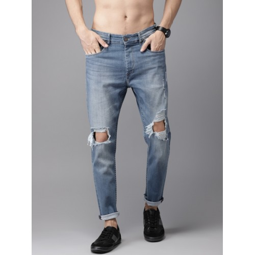 Moda Rapido Men Blue Tapered Fit Mid-Rise Highly Distressed Stretchable Ankle Jeans