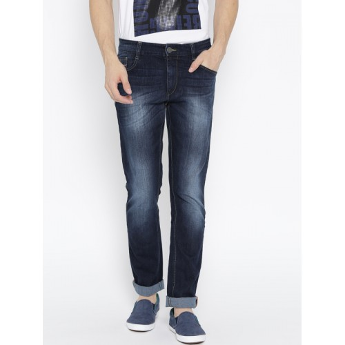 John Players Dark Blue Skinny Fit Low-Rise Jeans