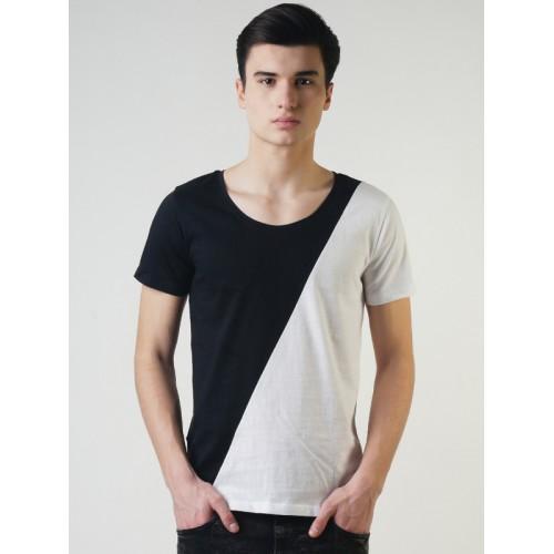 Blue Saint Men Black Colourblocked Scoop Neck T-shirt