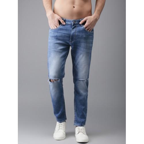 Moda Rapido Men Blue Slim Fit Ankle Length Mid-Rise Slash Knee Stretchable Jeans