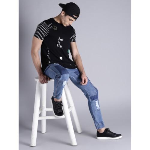 Kook N Keech Men Blue Slim Fit Mid-Rise Low Distress Denim Joggers
