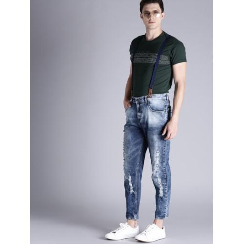 Kook N Keech Men Blue Carrot Fit Mid-Rise Mildly Distressed Jeans with Suspenders
