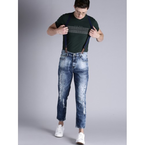 Kook N Keech Men Blue Carrot Fit Mid-Rise Mildly Distressed Jeans with Suspenders