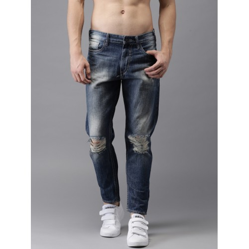 Moda Rapido Men Blue Slim Tapered Fit Ankle Length Mid-Rise Stretchable Jeans
