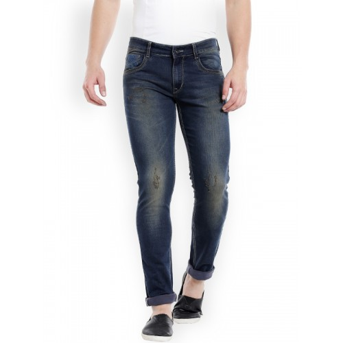 Rex Straut Jeans Men Navy Blue Skinny Fit Mid-Rise Low Distress Stretchable Jeans