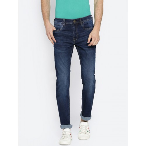8469af5e ... Peter England Casuals Men Blue Slim Fit Mid-Rise Clean Look Stretchable  Jeans ...