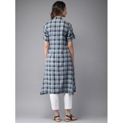 Moda Rapido Women Grey & Blue Checked A-Line Kurta