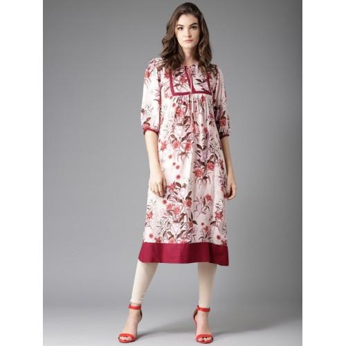 Moda Rapido Pink Viscose Rayon Printed A-Line Kurta