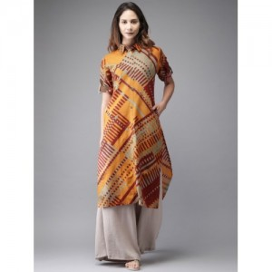 Moda Rapido Orange Cotton Printed Kurta