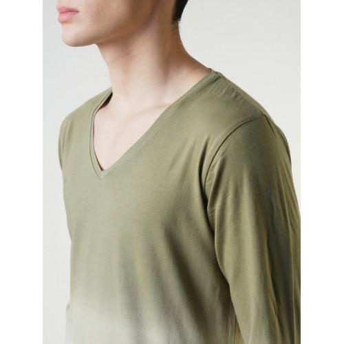 9c8f3634c26a Buy Blue Saint Men Olive Green Solid V-Neck T-shirt online | Looksgud.in