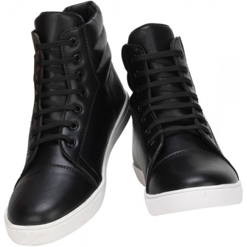 Shoe Island ® POPULAR Black Leatherette Stunning Ankle-Length Casual Colored Sneakers Sneakers For Men