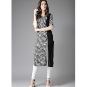 Moda Rapido Black & White Printed Straight Kurta
