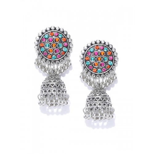 Tarbiya Kraft Oxidised Silver-Toned & Blue Stone-Studded Dome Shaped Jhumkas