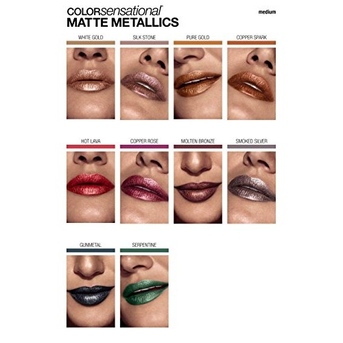 Maybelline New York Color Sensational Matte Metallic Lipstick, 30 Molten Bronze, 3.9g