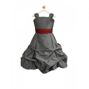 A.T.U.N All Things Uber Nice Girls Grey Solid Fit & Flare Dress