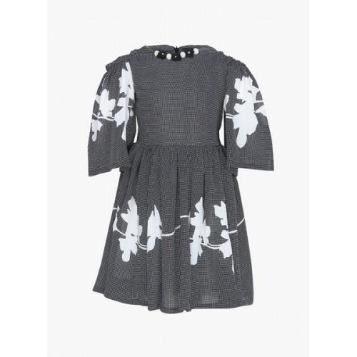 Tiny Girl Black & White Printed Fit and Flare Dress