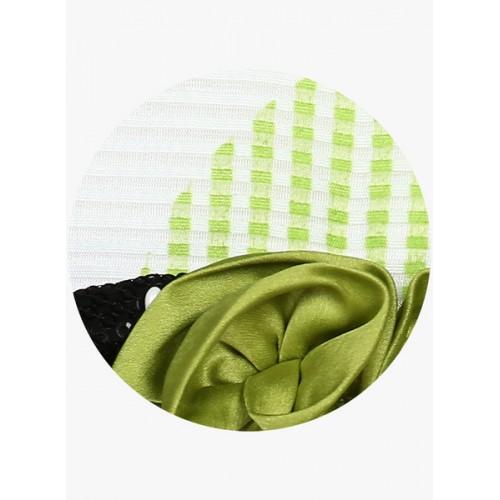Peppermint Girls Green Self-Design A-Line Dress