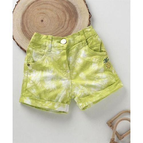 Little Kangaroos Green Cotton Shaded Shorts