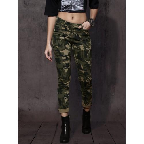 Roadster Women Olive Green & Black Slim Fit Printed Chinos