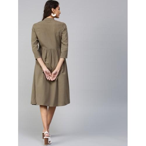 SASSAFRAS Women Olive Green Solid Fit & Flare Dress