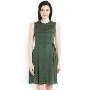 109F Women Green Solid Fit and Flare Dress