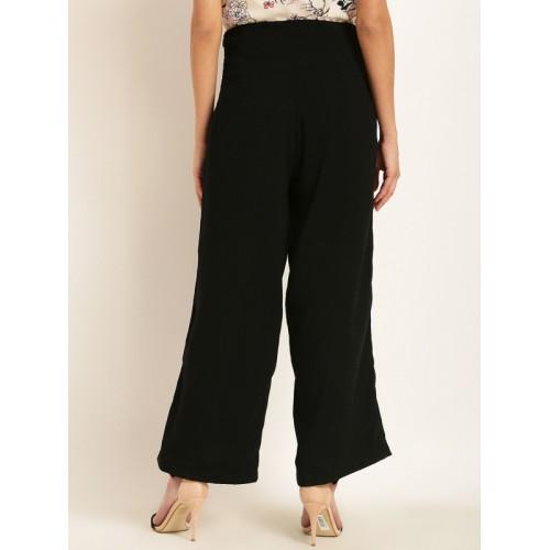 RARE Women Black Original Regular Fit Solid Culottes