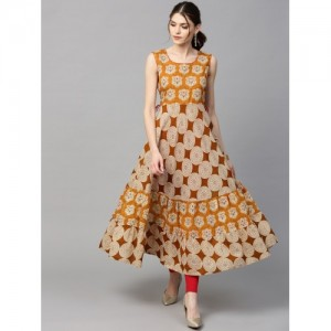 Gerua Yellow Cotton Abstract Anarkali Kurta