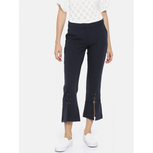 Vero Moda Women Navy Loose Fit Solid Bootcut Trousers