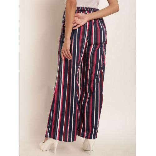 RARE Women Navy Blue & Pink Original Regular Fit Striped Parallel Trousers